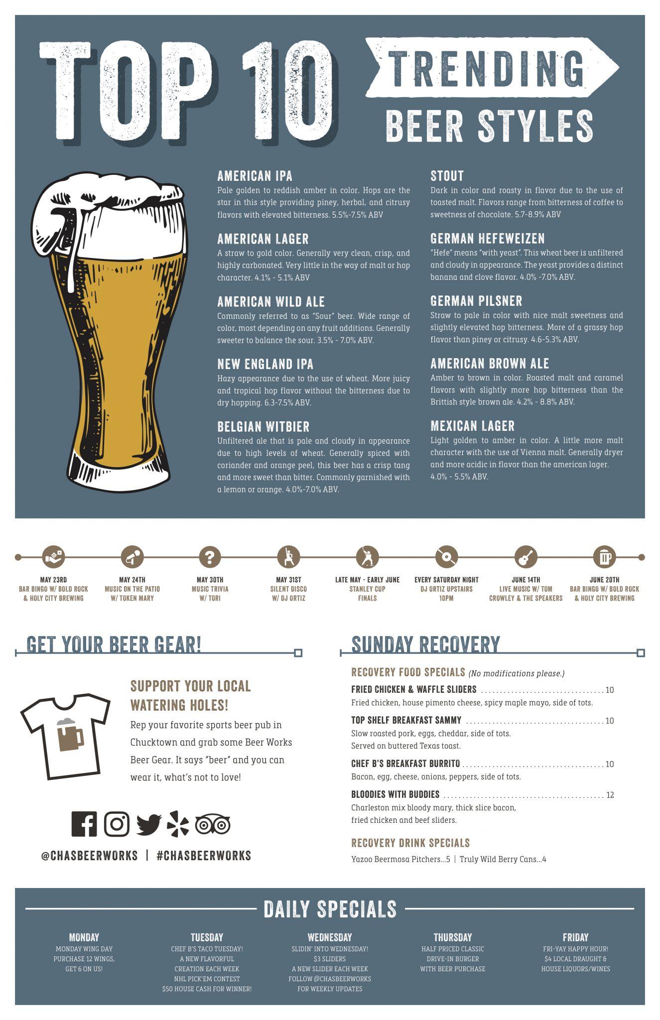 Charleston Beer Works Menu