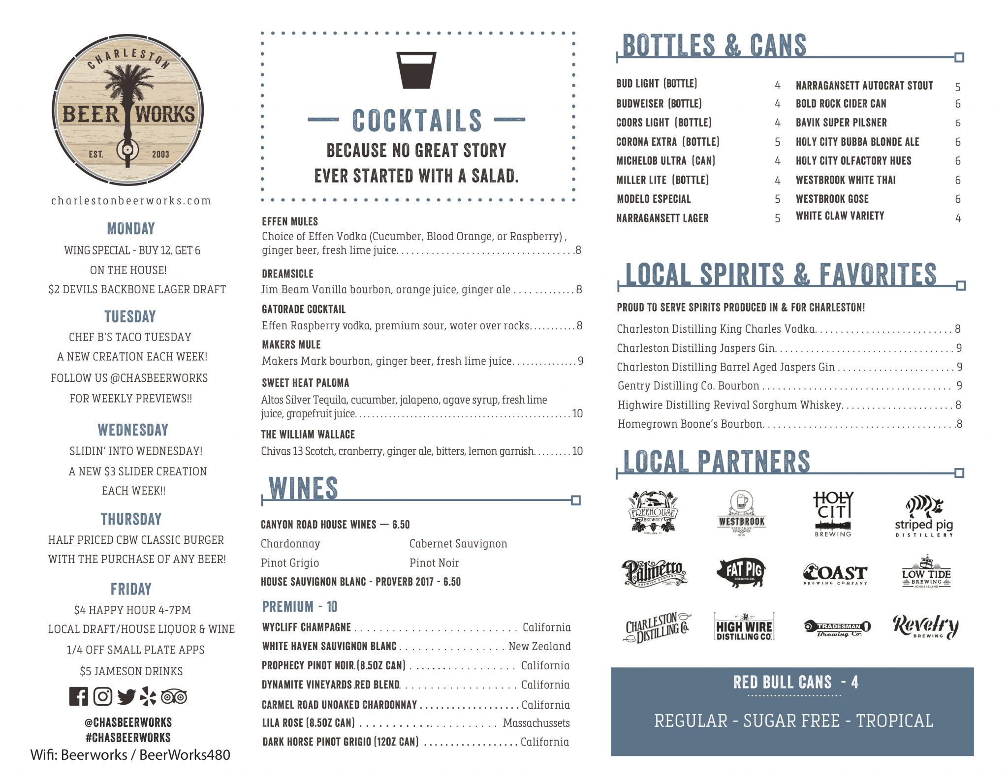 Charleston Beer Works Menu